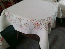 """Vintage Pure Linen Tablecloth Arts and Crafts Floral Embroidery 41x44"""""""