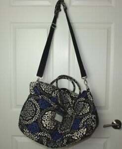 Women's Vera Bradley Large Grand Traveler Bag Canterberry Cobalt Strap