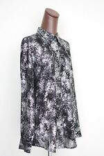 NEW Michael Kors Black Silver Glitter Sparkle Blouse XL Button Front Long Sleeve