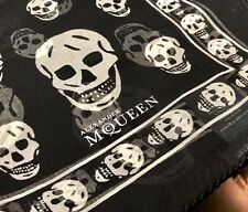 Alexander McQueen Authentic 100% Silk Skull Scarf In Black
