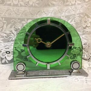 Art Deco Smiths Green Glass Sec Sectric Synchronous Electric Clock, No Lead