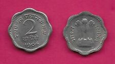 INDIA 2 PAISE 1964C UNC ASOKA LION PEDESTAL,SCALLOPED COIN,DENOMINATION AND DATE