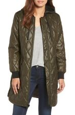 Michael Kors Diamond Quilted Hooded 3/4 Jacket Coat XS Olive