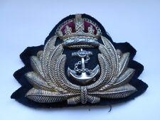 royal navy  officers metal  peaked  cap insignia  badge