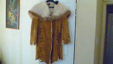 Women's Mid-Calf Length Shearling Coat Large Convertible Collar/Hood Taupe Sz M