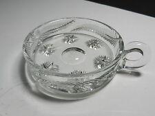 "Libbey Cut Glass Star & Feather Handled Bon Bon Clear 4 1/2"" D ca 1930's TM"