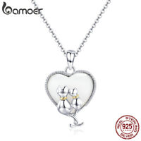 BAMOER The Cat Couple S925 Sterling silver Necklace Pandent For Women Jewelry