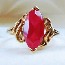 Estate antique Style Simulated Ruby 10K Yellow Gold Swirl Side  Ring