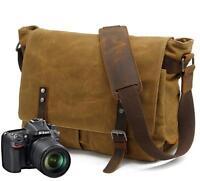 Vintage Men's Canvas Leather Shoulder Bag Waterproof Camera Bag Leisure Satchel
