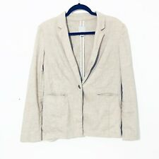 Halogen  Beige Long Sleeve Linen Women's Blazer Jacket Size M
