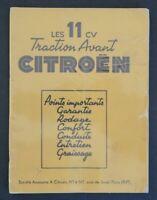 Brochure LES 11 CV TRACTION AVANT CITROEN 1951 automobilia