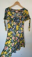 MISS SELFRIDGE BOLD FLORAL VINTAGE STYLE BUTTON DOWN TEA DRESS SIZE 8
