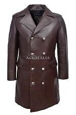 GERMAN NAVAL JACKET Men's Brown ANILINE Cowhide Leather SUBMARINE Coat 9490