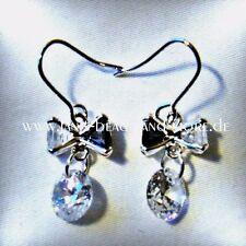 Wunderschöne Onyx Weißtopas Ohrhänger 925 Sterling Silber rhodiniert 30 x 10 mm