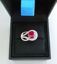 10K White Gold 2 Carat Created Ruby & Diamond Ring 3.9 Grams Size 7 New w/ Box