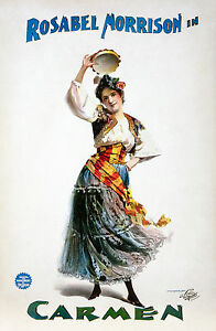 Old Vintage Theatre Poster Carmen - Fade Resistant HD Print or Canvas