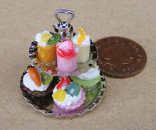 1:12 Scale 2 Tier Metal Stand With Fixed Assorted Cakes Tumdee Dolls House