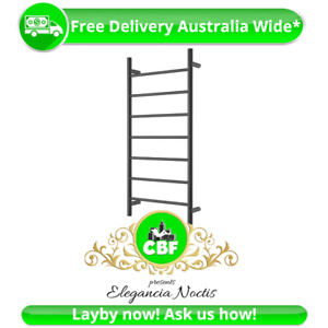Round 6 Rung Bathroom Towel Ladder 920 x 460mm Stainless Matte Black Non Heated