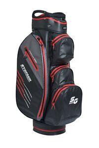 Stinger Waterproof Golf Cart Bag w/ Rain Hood Adjustable Carry Strap Black / Red