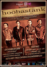 Hoobstank 2014 Singapore Concert Tour Poster- Post-grunge, Alt. Rock Metal Music