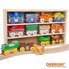 Orbrium Toys 12 Pcs Wooden Train Car Set Engine Animals Thomas Brio Chuggington