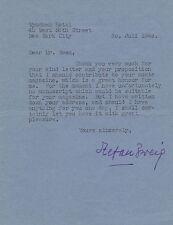 Stefan ZWEIG Lettre tapuscrite signée  à Mr Ewen. Exilé en 1940. Autographe
