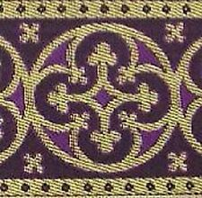 Wide, Metallic Jacquard Trim. Medieval. Gold & Purple
