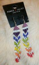ROMEO+JULIET Couture Silver Retro Boho Rainbow Bead Dangle Hanging Earrings NEW