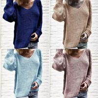 Sweater Long Knitted Pullover Loose Sleeve Jumper Women's Tops V Neck Knitwear