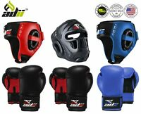 ADii™ Boxing MMA Gloves with Headgear head Guard MMA Face Helmet Protective Gear