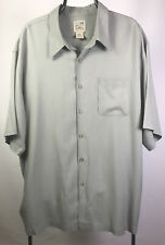 TravelSmith Mens Button Down Short Sleeve Shirt 100% Silk Light Olive Green XXL