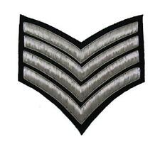 Chevrons Major Stripes Silver Bullion On Black 4 Bars 150mm Wide R1222
