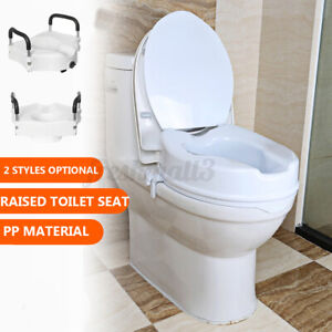 2 Styles PP Raised Toilet Seat Elevated Portable White Safety Disability