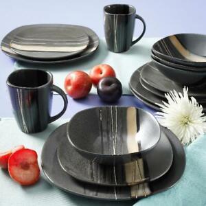 Square Dinnerware Set For 4 Stoneware Kitchen 16 pc Plates Bowls Dishes Mug New