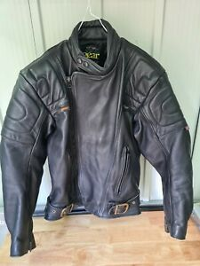 Mens Keprotec Schoeller Black Leather Biker Jacket size 40 Racing Leather Gear