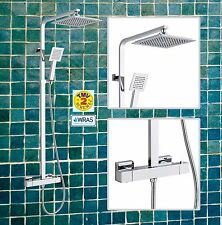 Premium Square Modern Overhead Rain Thermostatic Mixer Shower Exposed Kit Set