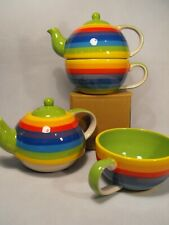TEA FOR ONE STACKING TEAPOT Quality Porcelain RAINBOW TEAPOT TWO CUP TEA POT CUP