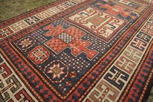 COLLECTORS' PIECE Antique Kazak Emerald Color Combination Washable Caucasian Rug