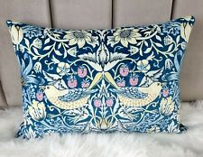 """14x20"""" Velvet William Morris Strawberry Thief Teal Cushion Cover Traditional"""