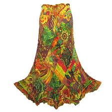 2 in 1 Boho Hippie Diamond Patchwork Ruffle Hem Cotton Long Skirt/Dress  M0028