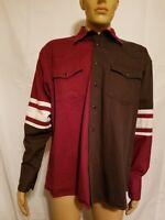 Rustler by Wrangler Maroon Red and Black Long Sleeve Black Pearl Snap Mens Shirt