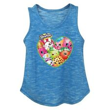 Shopkins Girls Turquoise Blue Tank Top Heart with Shopkins Graphics Size 4/5 New