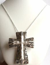 Silver Plated Serenity Prayer Necklace Cross Plus Size 24 Inch Long Chain Chunky
