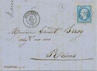 "FRANKREICH 1866 ""2258"" (MASNIERES) n Reims m selt Bahnpost-Kontrollstempel ""A"""