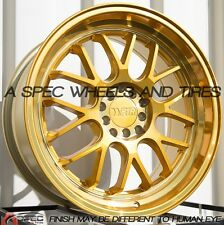 18X8.5 +45 F1R F21 5X112 GOLD WHEELS Fits Vw Rabbit Cc Golf Gti Tdi Eos Jetta