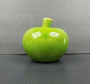 "Adorable Large 5"" x 5"" Green Apple Crackle Glaze Ceramic Pottery Decor EUC"