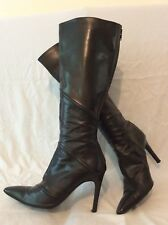 Marilyn Anselm Design For Hobbs Black Knee High Leather Boots Size 38