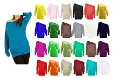 WOMEN ONE OFF SHOULDER BATWING LONG SLEEVE SLOUCHY T-SHIRT BAGGY TOP- SIZES 8-26