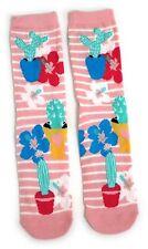 Damen Tropical Flora Hibiskus und kakteen Socken Uk 08.04 Eur 37-42 Usa 6-10