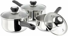 Judge Vista 3 Piece Saucepan Set Basic 14 16 18cm Pots Glass Lids 0.9L 1.0L 1.8L